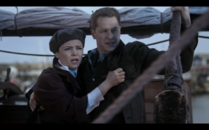 "Snow and Charming Hugging and Sailing the ""Jolly Roger"""